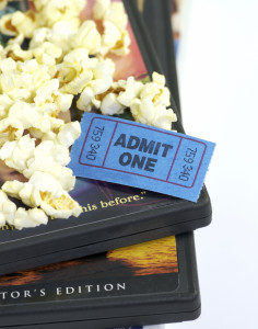 DVD, Popcorn and Cinema Stub