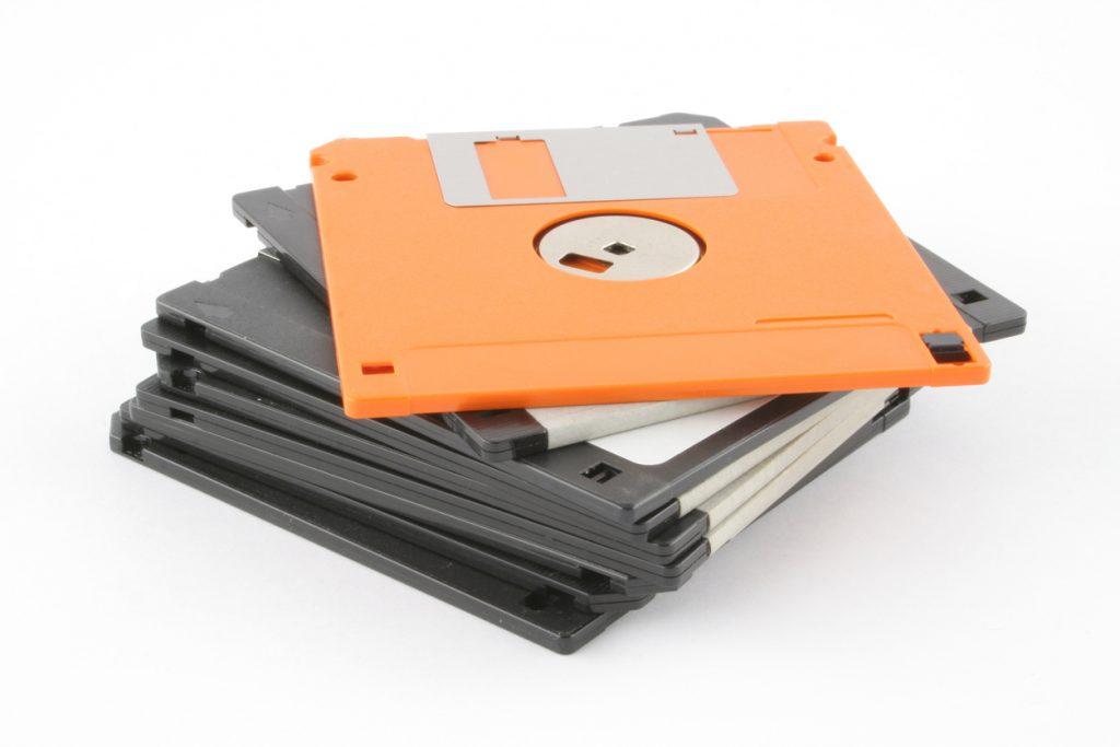 floppy disks - black and orange
