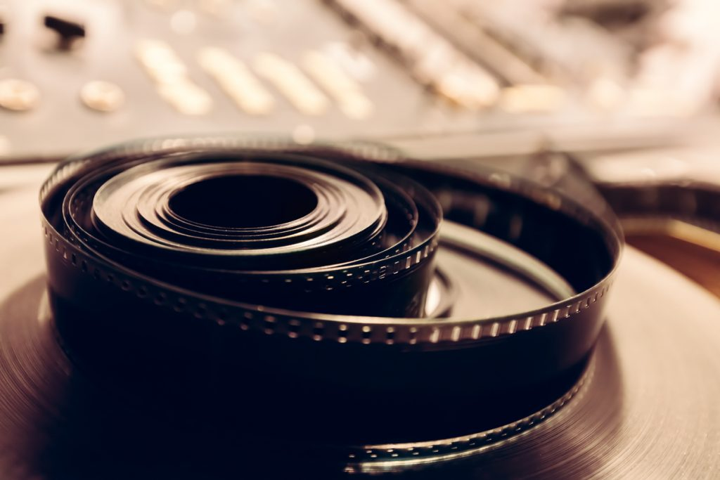 Vintage cine reel in a close-up shot.
